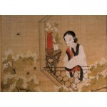 Puzzle   Chinese Art - Lady mirroring Peach Blossoms