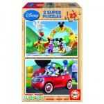 Educa-13470 2 Puzzles en bois - Le Club de Mickey
