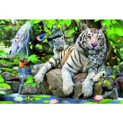 Puzzle Educa-14808 Tigres blancs du Bengale