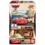 Educa-14935 2 Puzzles en bois - Cars 2, Flash McQueen, Grem et Acer