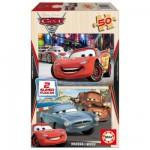 Educa-14936 2 Puzzles en Bois - Cars 2, Flash McQueen, Martin et Finn McMissile