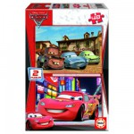 Educa-14939 2 Puzzles - Cars 2, Piston Cup et Radiator Springs