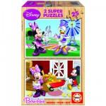 Educa-15279 2 Puzzles en Bois -  Mickey et ses amis : Minnie
