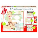 Educa-15491 4 Puzzles Progressifs - Sophie la girafe