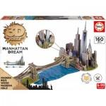 Educa-17000 Puzzle 3D en Bois - Brooklyn Bridge, Manhattan Dream