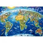 Puzzle  Educa-17129 World Landmarks Globe, Adrian Chesterman