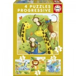 Educa-17147 4 Puzzles - Wild Animals