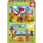 Educa-17151 2 Puzzles - Dragons et Chevaliers