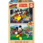 Educa-17236 2 Puzzles en Bois - Mickey and The Roadster Racers