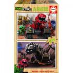 Educa-17272 2 Puzzles en Bois - Dreamworks - Dinotrux