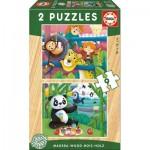 Educa-17616 2 Puzzles en Bois - Animaux