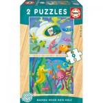 2 Puzzles en Bois - Animaux Marins