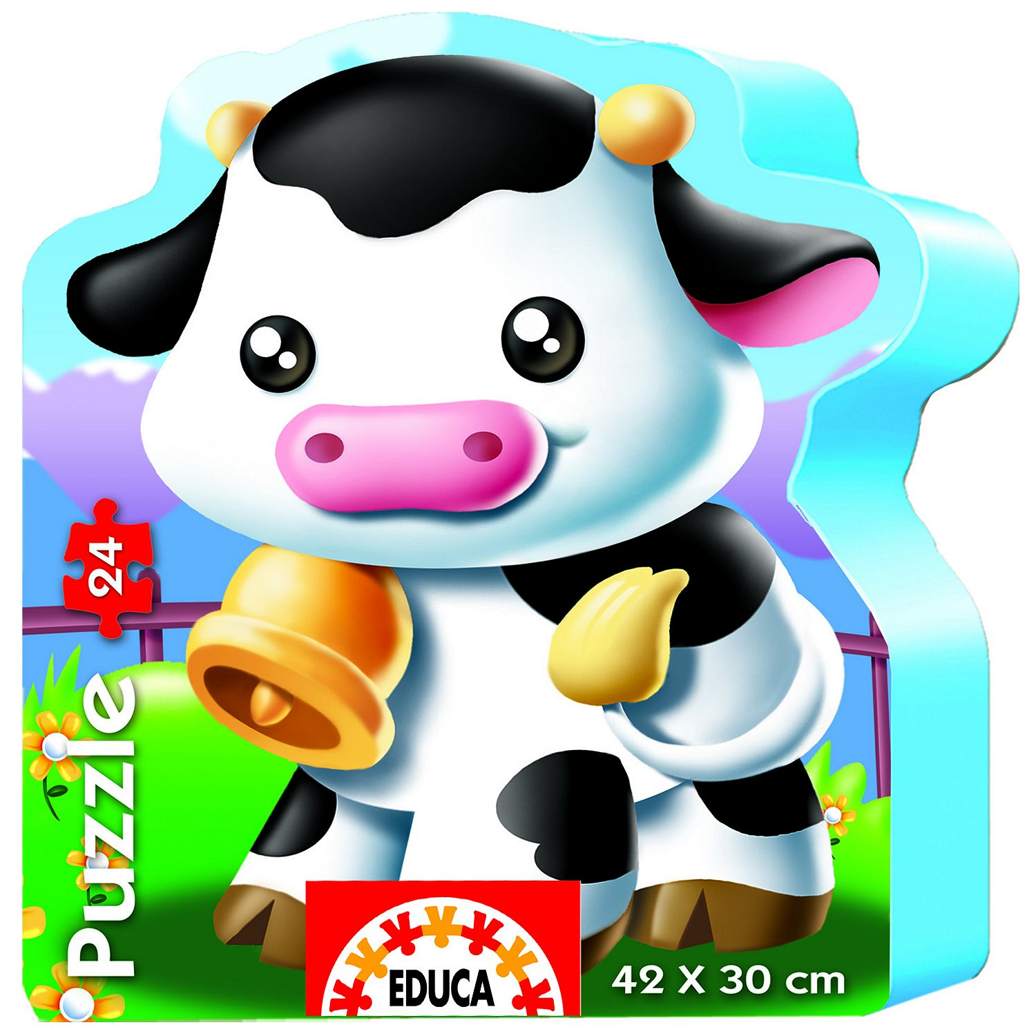 puzzle forme vache educa 14961 24 pi ces puzzles animaux de la ferme. Black Bedroom Furniture Sets. Home Design Ideas