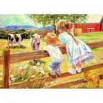 Puzzle  Eurographics-8000-0450 Corinne Hartley - Enfants sur une barrière