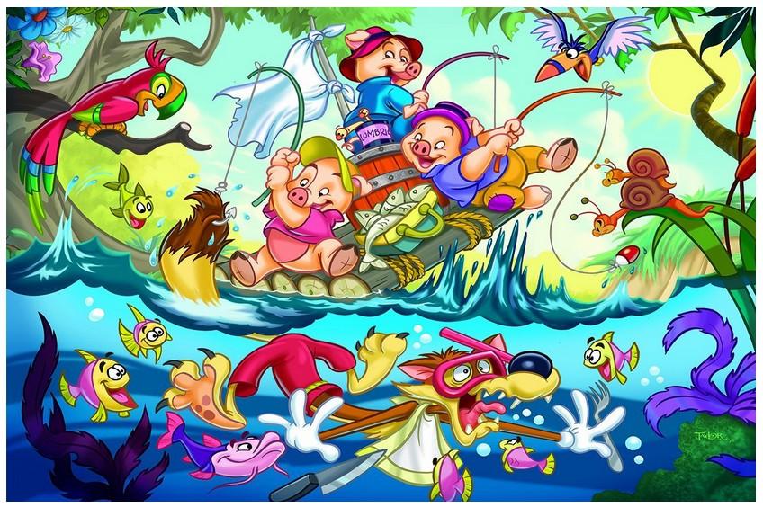 Puzzle les trois petits cochons eurographics 6035 0423 35 pi ces puzzles animaux en bd et dessins - Dessin anime les 3 petit cochons ...