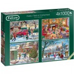 Jumbo-11269 4 Puzzles - Family Time at Christmas