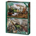 Puzzle  Jumbo-11331 Mail by Rail (2x500 Pièces)