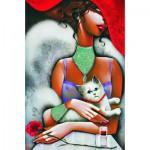Puzzle  Gold-Puzzle-61284 La Femme au Chat