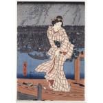 Puzzle  Grafika-Kids-00275 Pièces XXL - Utagawa Hiroshige : Evening on the Sumida River, 1847-1848