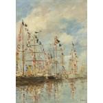 Puzzle  Grafika-Kids-01094 Eugène Boudin - Bassin de Yacht à Trouville, Deauville, 1895/1896