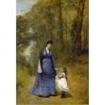 Puzzle  Grafika-Kids-01346 Jean-Baptiste-Camille Corot : Madame Stumpf et sa fille, 1872
