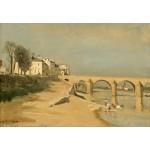 Puzzle  Grafika-Kids-01347 Jean-Baptiste-Camille Corot : Pont sur la Saône à Mâcon, 1834