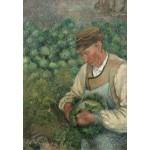 Puzzle  Grafika-Kids-01371 Camille Pissarro : Le Jardinier - Vieux Paysan avec Chou, 1883-1895
