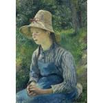 Puzzle  Grafika-Kids-01374 Camille Pissarro : Jeune Paysanne avec un Chapeau de Paille, 1881