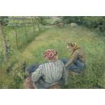 Puzzle  Grafika-Kids-01377 Camille Pissarro : Jeunes Paysannes se Reposant dans les Champs Près de Pontoise, 1882