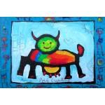 Puzzle  Grafika-Kids-01813 Pièces XXL - Anne Poiré & Patrick Guallino - Vache Radieusement Arc-en-ciel
