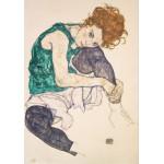 Puzzle  Grafika-00212 Egon Schiele : Femme Assise à la Jambe Repliée, 1917