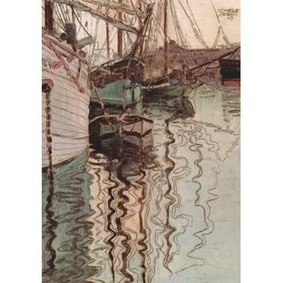 Puzzle Grafika-00217 Egon Schiele : Voiliers dans l'eau au Port de Triest, 1907