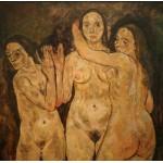 Puzzle  Grafika-00219 Egon Schiele : Trois Femmes Debout, 1918