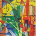 Puzzle  Grafika-00325 Franz Marc : Landschaft mit Haus, Hund und Rind, 1914
