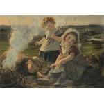 Puzzle  Grafika-00374 Sophie Gengembre Anderson : The Bonfire, 1903