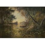 Puzzle  Grafika-00378 Charles Christian Eisele : Evening on the Suwannee River, 1885