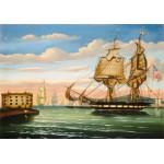 Puzzle  Grafika-00469 Thomas Chambers : Bay of New York, Sunset, XIXe Siècle