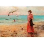 Puzzle  Grafika-00482 Alfred Stevens : Jeune Femme à l'Ombrelle Rouge au Bord de la Mer, 1885