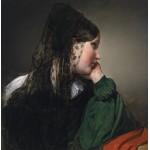 Puzzle  Grafika-00484 Friedrich von Amerling : Jeune Fille de Profil avec une Mantille Noire, 1887