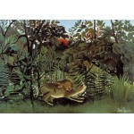 Puzzle  Grafika-00498 Henri Rousseau : Le Lion ayant Faim se jette sur l'Antilope, 1905