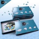 Puzzle  Grafika-00499 Lot de 6 Boites de Tri Bleues - 24 x 22 x 2.5 cm