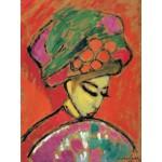 Puzzle  Grafika-00528 Alexej von Jawlensky : Jeune Fille au Chapeau Fleuri, 1910