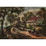 Puzzle  Grafika-00574 Affiche Currier & Ives : Maison sur le Mississippi , 1871