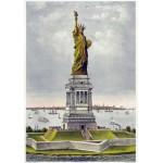 Puzzle  Grafika-00580 Affiche Currier & Ives : La Statue de Bartholdi, la Liberté éclairant le Monde, 1885