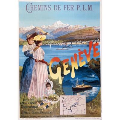 Puzzle Grafika-00608 Affiche pour les Chemins de Fer P.L.M. : Paris - Genève , 1895