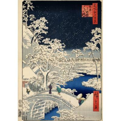 Puzzle Grafika-00770 Utagawa Hiroshige : Drum bridge at Meguro and Sunset Hill, 1857