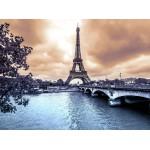 Puzzle  Grafika-01197 La Tour Eiffel par Temps de Pluie en Hiver