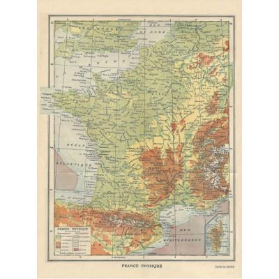 Puzzle Grafika-01225 Carte de la France Physique - Larousse, 1925