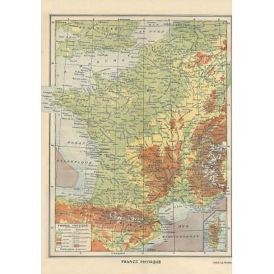 Puzzle Grafika-01226 Carte de la France Physique - Larousse, 1925