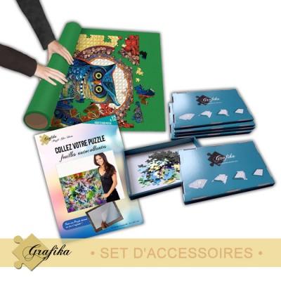 Puzzle Grafika-01325 Set d'Accessoires - Confirmé - Tapis 2000 Pièces, Colle 2000 Pièces et 6 Boites de Tri